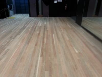 Sanding of a School stage in Preparation